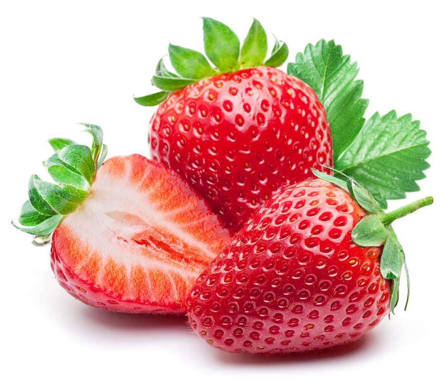 Three strawberries with strawberry leaf