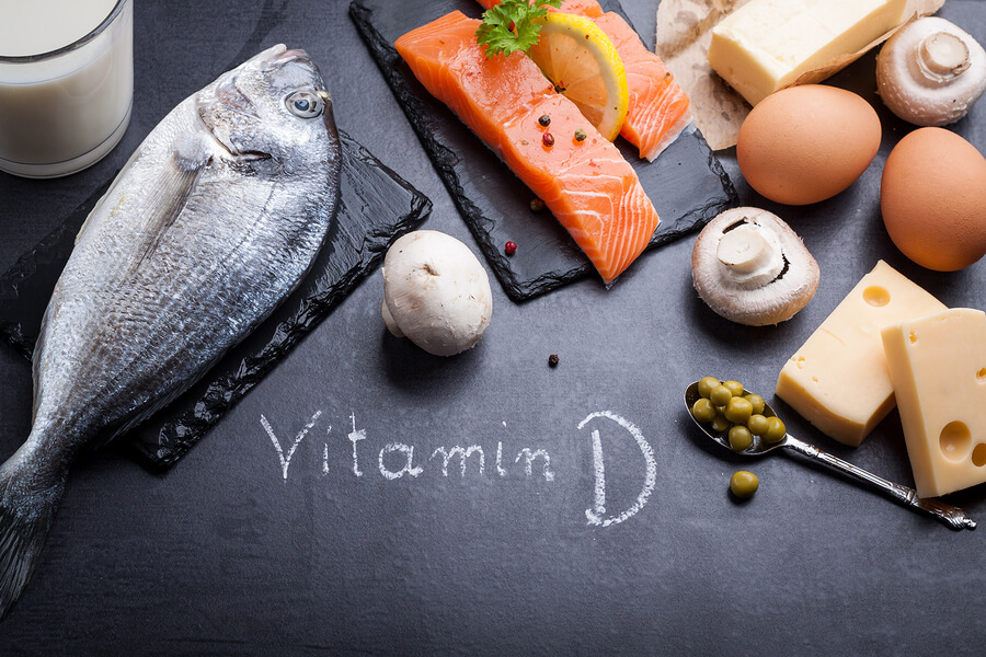 vitamin d - fish- eggs - milk - cheese - board