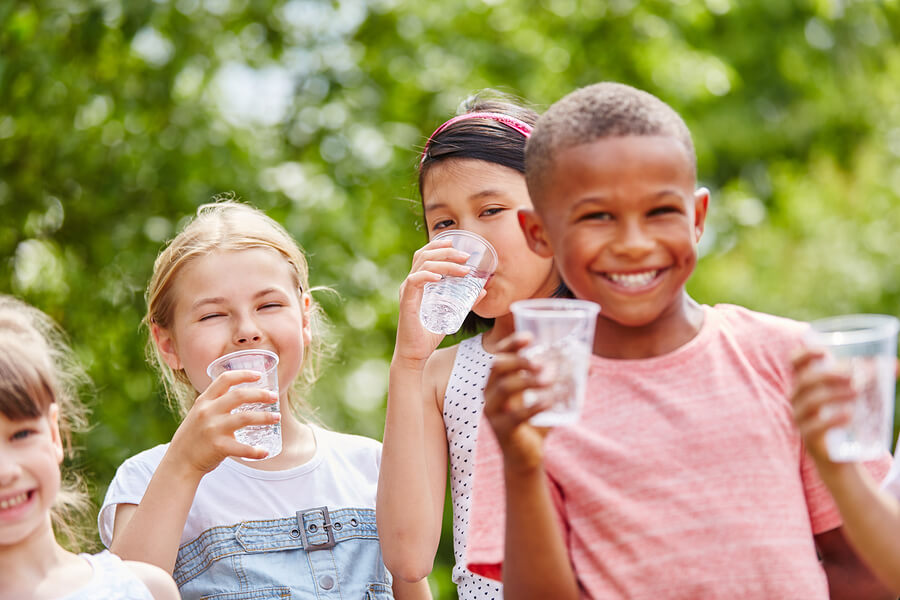 Children enjoying water
