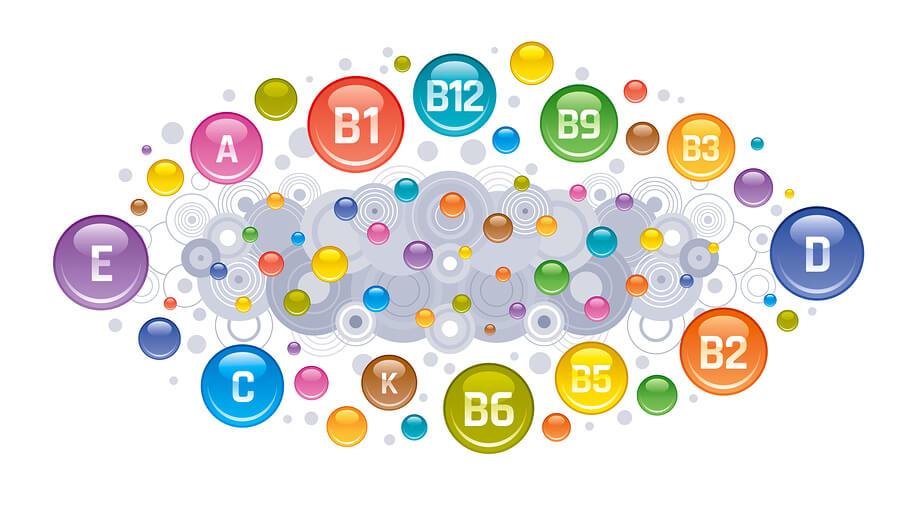 Multi Vitamin Complex Icons. Vitamin A, B Group - B1, B2, B3, B5