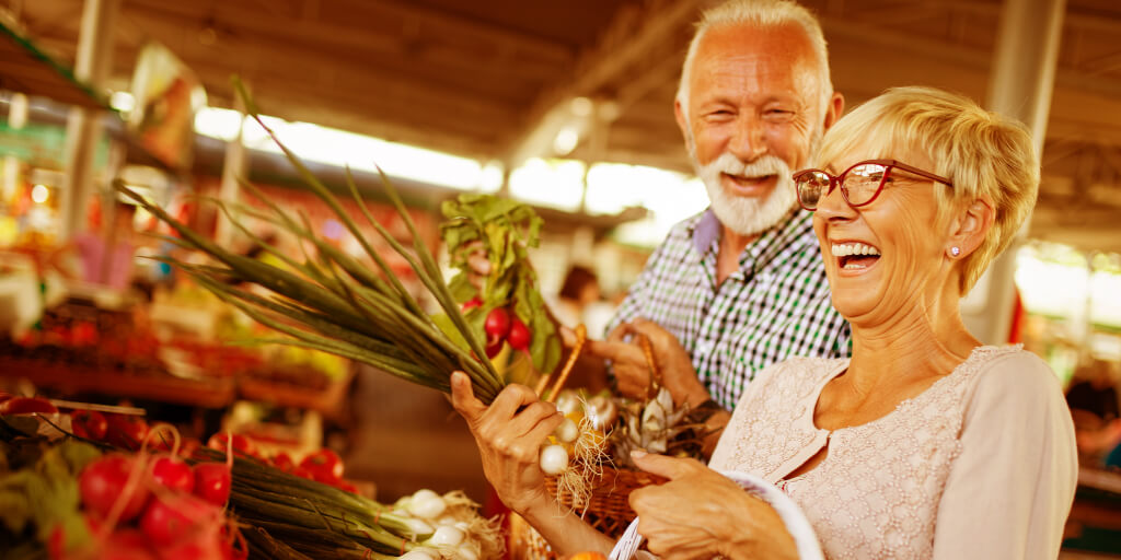 Healthy living seniors vegetables shopping